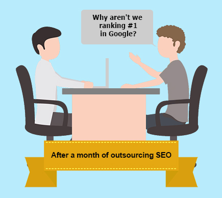 Typical discussion between an SEO service provider and a customer; why are we still not #1 in Google?