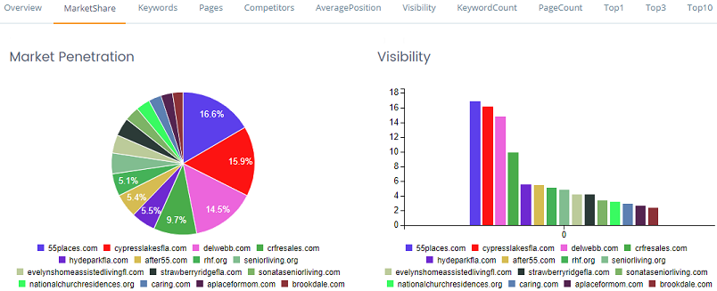 SERP Visibility and overall market share.